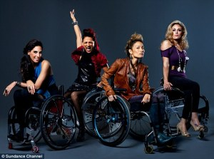 "The stars of The Sundance Channel's ""Push Girls,"" wearing hip clothing and sitting in fancy wheelchairs."